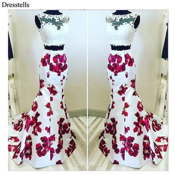 Dresstells Hot Selling See Through Lace 2 Piece Floral Print  Long Prom Dresses Evening Wedding Dress Vestido De Novia