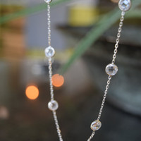 Sterling Silver Station Necklace Bezel Set Stone