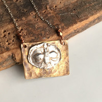 Bumble Bee Fine Silver Necklace, PMC Silver, Brass and Silver Pendant, Dainty Necklace, Insect Necklace, Silver Chain