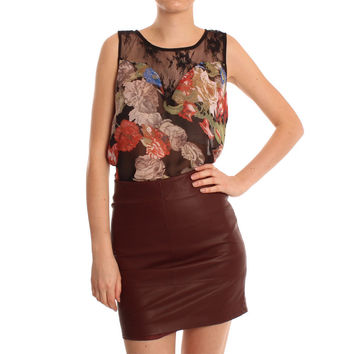 Only Burgundy Sweetie PU Mini Skirt