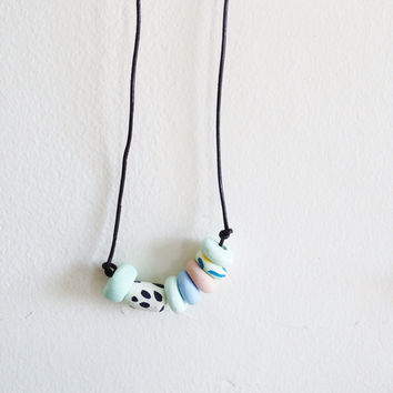Geometric clay necklace / mint green beaded necklace