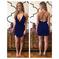 Blue Plunging Cross-back Asymmetric Mini Dress