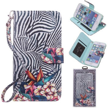 iPhone 6 6s Wallet Case, True Color® HD Printed Bird of Paradise on Zebra Wristlet Purse Clutch with Removable Wrist Strap, Card Slots & I.D Window Magnetic Closure Media Stand