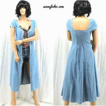 90s denim maxi dress denim duster S boho prairie light washed smocked back grunge long jean dress  SunnyBohoVintage