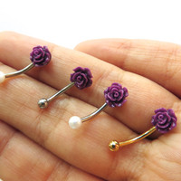 16 Gauge Purple Rose Pearl Silver Gold Bar Eyebrow Rook Brow Jewelry Piercing Earring Ear Barbell 16g G