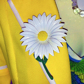 HUGE 1960s Vintage MOD Enamel Daisy Brooch / White Yellow Painted Flower Brooch with Green Stem and Leaves / Cute Mid Century Floral Pin