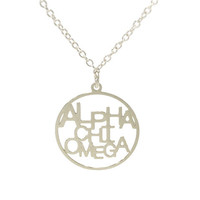 AXO Alpha Chi Omega Word Disc Necklace