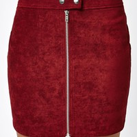 Kendall and Kylie Zip Front Suede Mini Skirt at PacSun.com