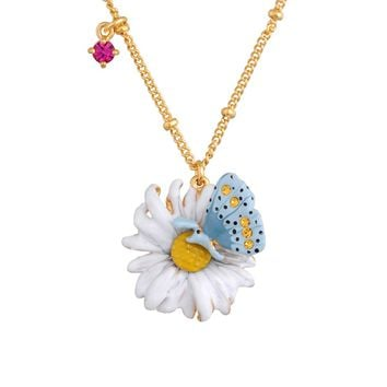 Les Néréides Bucolic Blue Butterfly and Daisy Necklace