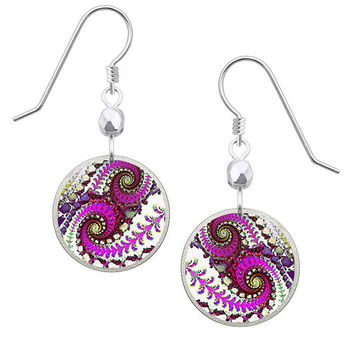 Lemon Tree Magenta Swirl Earrings on Sterling Silver Ear Wires