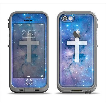 The Vector White Cross v2 over Purple Nebula Apple iPhone 5c LifeProof Fre Case Skin Set