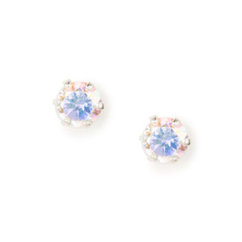Sterling Silver 4MM Iridescent Cubic Zirconia Cupcake Set Stud Earrings