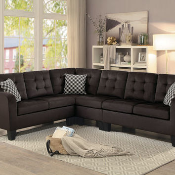 2 pc sinclair collection chocolate fabric upholstered reversible sectional sofa set with tufted backs