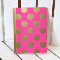 Pink Gold Foil Polka Dot Mini Journal