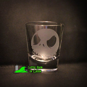 Jack Skellington Etched Shot Glass