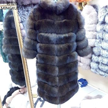 New Brand Winter Real Blue Fox Fur Coat Thick Warm Imitation Of Sables Women's Light Brown Long Jacket The fox fur Coat