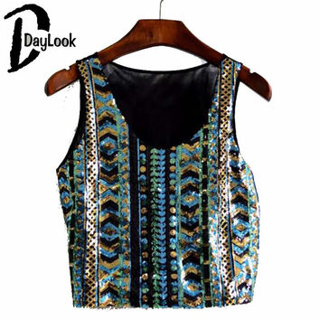 DayLook New Stylish Women Crop Top Tribal Print Glitter Bling Bling Sequin Tank Top Party Vest Short Shirt Camisole Femmes
