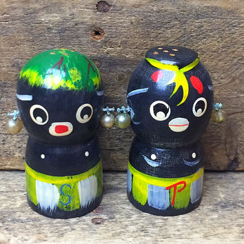 Vintage Black Tribal Man and Woman Wooden Salt and Pepper Shakers