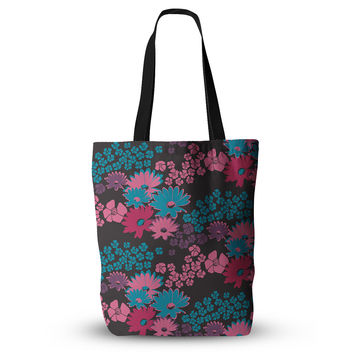 "Zara Martina Mansen ""Berry Color Bouquet"" Teal Pink Everything Tote Bag"