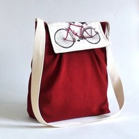 LA POMME Bicycle Flap VALENTINE Red | ikabags - Bags & Purses on ArtFire