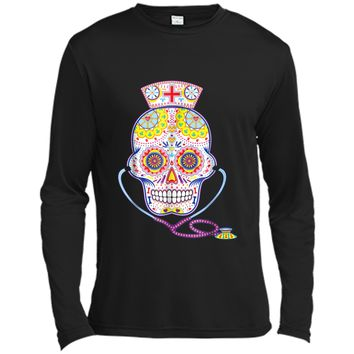 Nurse Sugar Skull Day Of The Dead Halloween Color  Long Sleeve Moisture Absorbing Shirt
