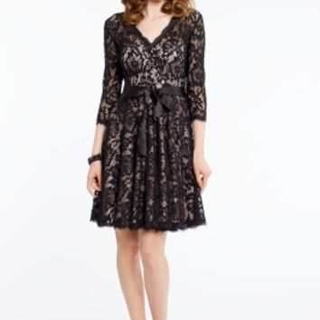 Lace 3/4 Sleeve Dress with Satin Tie Waist
