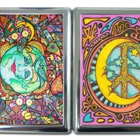 Hippie Art Cigarette Case with Built in Lighter Wallet Card Holder