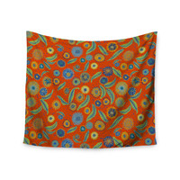 """Laura Nicholson """"Asters On Scarlet"""" Orange Floral Wall Tapestry"""
