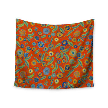 "Laura Nicholson ""Asters On Scarlet"" Orange Floral Wall Tapestry"