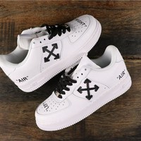OFF White x Nike Air Force 1 AF1 Low White/ Black Fashion Sneakers - Best Online Sale