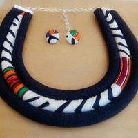 Kente mudcloth necklace and earring set