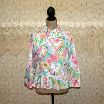 Cotton Blouse Colorful White Print Shirt Peplum Top Medium Button Up Blouse 3/4 Sleeve