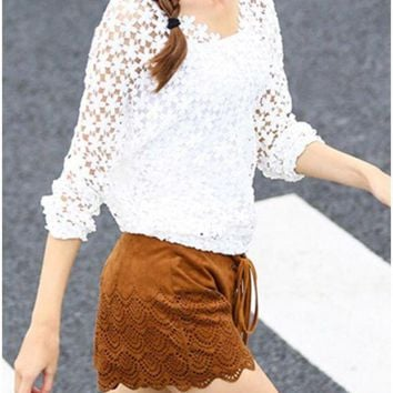 C| Chicloth Chic Crochet Lace V-Neck Long Sleeve White Blouse with Vest