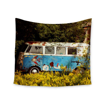 "Angie Turner ""Hippie Bus"" Blue Yellow Wall Tapestry"