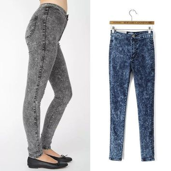 High Waist Stretch Jeans Slim Denim Skinny Pants [8173407047]