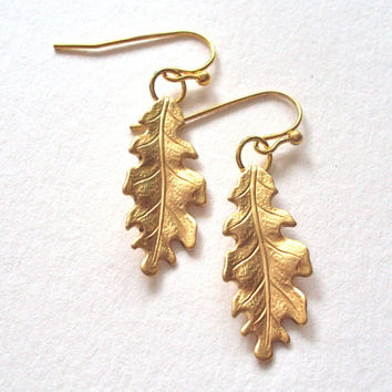 Small Gold Oak Leaf earrings - brass leaves