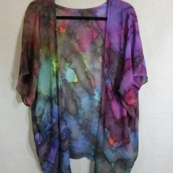 "Hand Painted Silk Chiffon Blouse ""Cloudy Rainbow"""