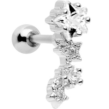"16 Gauge 1/4"" Stainless Steel Clear CZ Stars Left Cartilage Earring"
