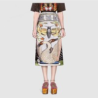 """Gucci"" Women Temperament Fashion Red-crownedCrane Print High Waist Show Thin Middle Long Section Skirt"