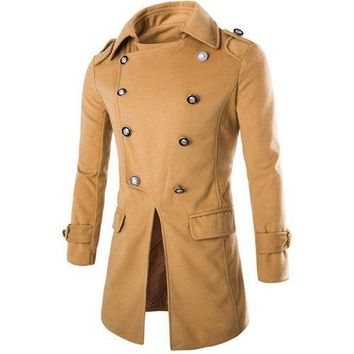 Special Top Fly Multi-Button Epaulet Design Woolen Blend Turn-down Collar Long Sleeves Men's Peacoat - Camel M