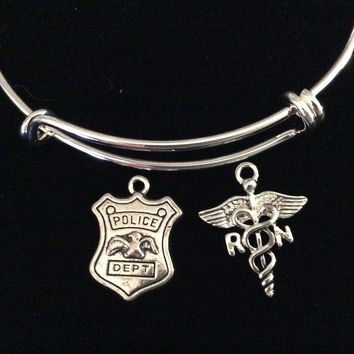 RN Police Officer Expandable Charm Bracelet Silver Wire Bangle Nurse Police Badge Handmade Trendy