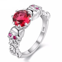 Red Ring Cubic Zirconia Skull Silver Color Rings