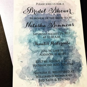 Watercolor Bridal Shower Invitations - Bridal Shower Invites - NATASHA VERSION PURPLE Set of 25