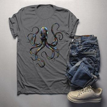 Men's Octopus T Shirt Hand Drawn Vintage Hipster Shirts Octopus Geometric Graphic Tee