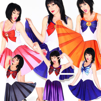 Summer Dresses for Women 2016 Women Clothing Sailor Moon Style Cosplay Costume Dress Ladies Office Dresses Sundress Drop Ship