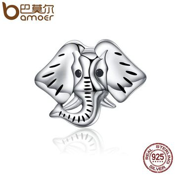 Popular Genuine 925 Sterling Silver Forest Guardian Elephant Beads Charm fit Bracelets Bangles Jewelry Making SCC173