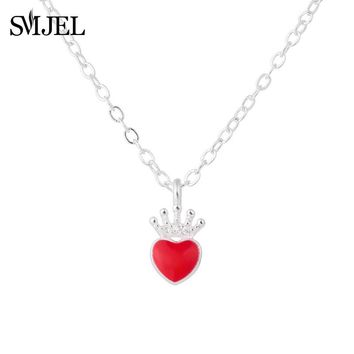 Cool SMJEL  Fashion Silver Evie Necklace Descendants Red Heart Crown Necklace Queen of Hearts Costume Fan Jewelry Teen Girl GiftsAT_93_12