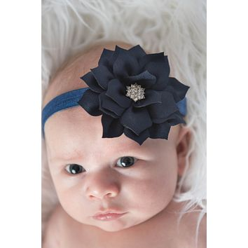 Navy Elastic Headband for Baby Girls