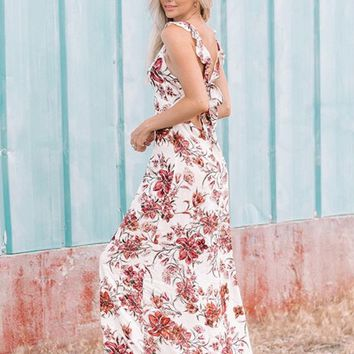 Never Leave Ruffle Floral Maxi Dress
