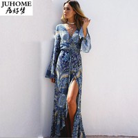 Floral print long dress plus size Women clothes 2017 maxi dresses vestidos Sexy white purple blue split beach summer sundresses